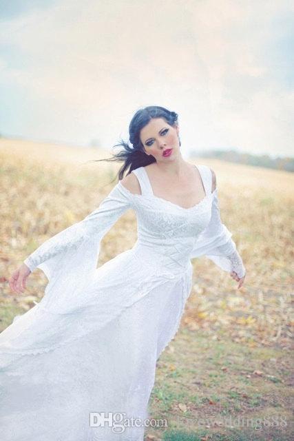 Современные Средневековые Полные Кружевные Свадебные Платья 2019 A Line Custom С Плеча Колокол Длинные Рукава Sweep Поезд Свадебные Платья