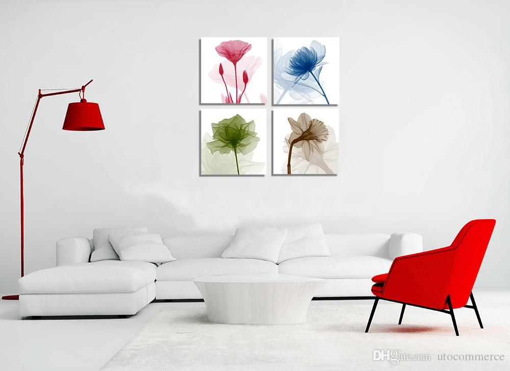 4 Panels HD Flower Abstract Canvas Painting Home Decor Canvas Wall Art Picture Digital Art Print for Living Room