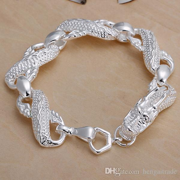 10PCS/lot Free shipping Wholesale 925 Sterling silver plated men's bracelets of large dragon type for gifts LKNSPCH036