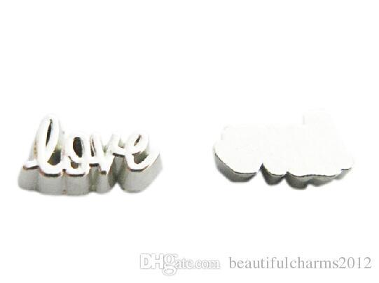 / lotto argento amore lettera fascino, lega galleggiante medaglione medaglione misura vetro collana medaglione magnetico rendendo