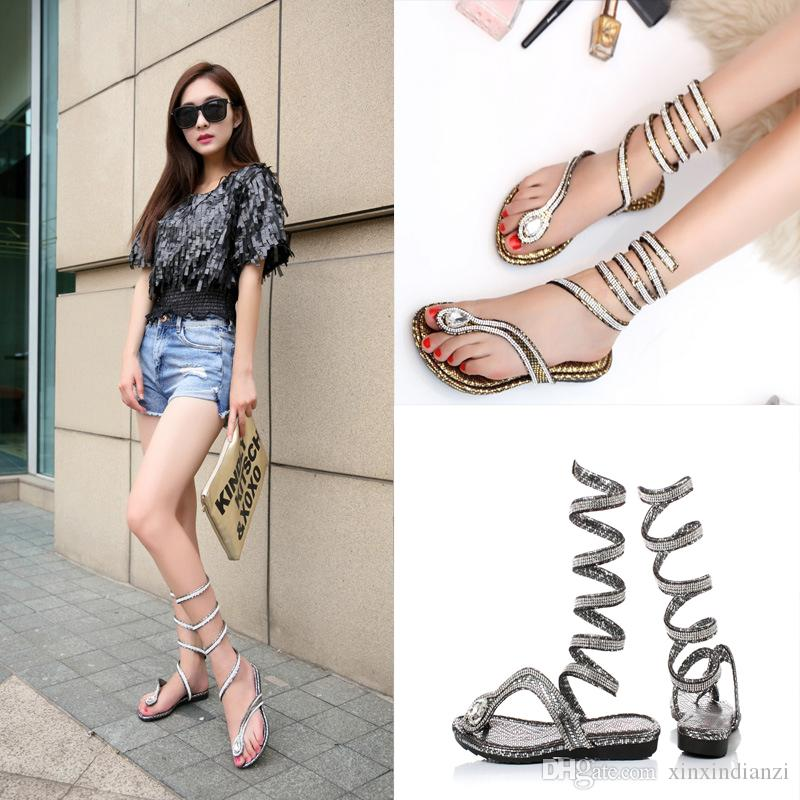 Women Wrapped New Snake Shape Flat Sandals Summer Style With Rhinestones Fashion Gladiator Flip Flops Girl Trendy Sandals C56Q Nude Shoes High -5127
