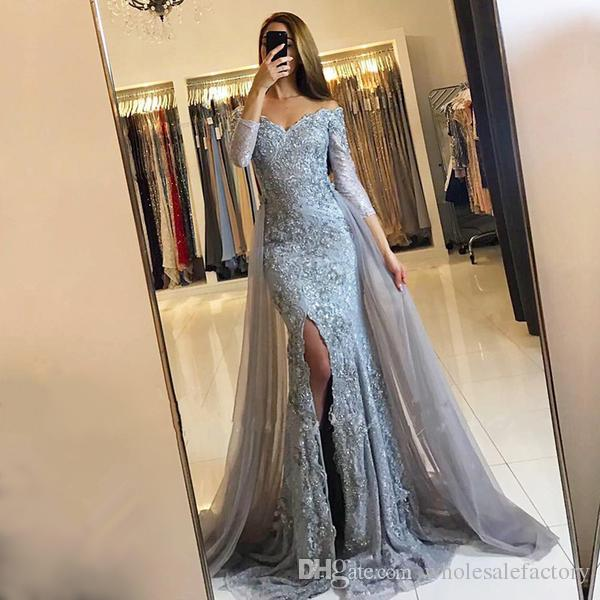 Vintage Arabic 3/4 Sleeves Lace Appliqued Gray Long Evening Dresses Crystals Beaded Arabic Party Formal Prom Gowns with Detachable Train