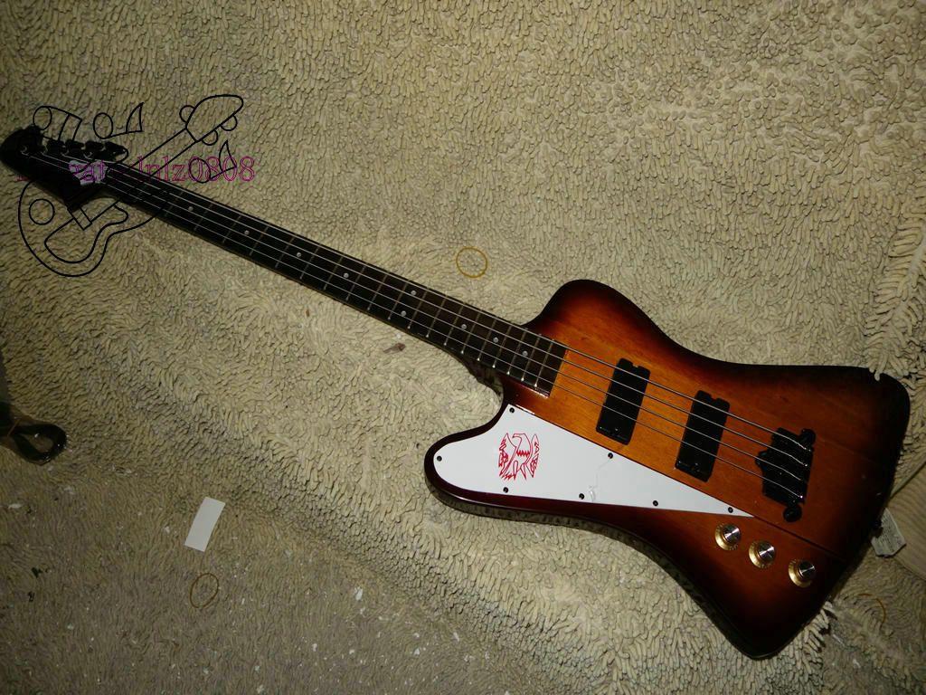 새로운 도착 중국어베이스 4 문자열 왼손 일렉트릭베이스 꿀 버스트베이스 기타