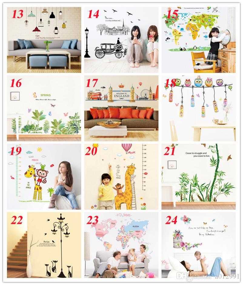36 arten Neue Abnehmbare PVC Cartoon Wandtattoos Wohnkultur Aufkleber Mordern kunstwand für Kinder Kindergarten Wohnzimmer