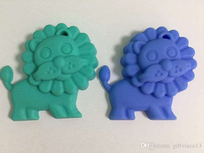 BPA Free Silicone Teething Necklace Large Lion Pendants Safe Silicone Chewable Baby Teether Toys Nursing Jewelry Wholesale Multi colors