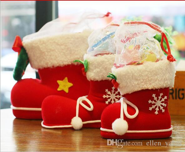 4 Size Christmas Decorations Children's Gift Candy Boots Small Gift Bag Holiday Christmas Stockings Christmas Eve gift Exhibition mall gifts