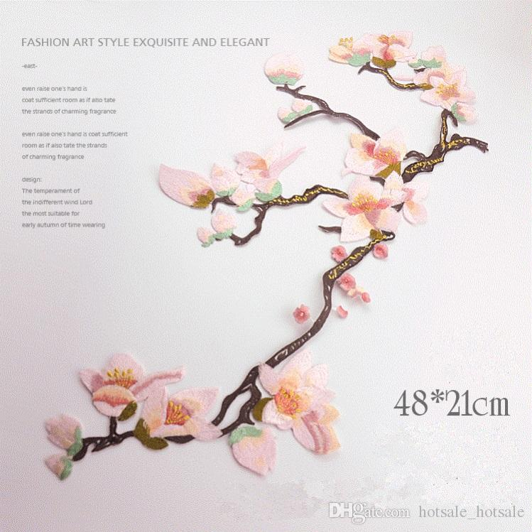 2019 Large Magnolia Flower Patch 2148cm Embroidered Sewing Applique