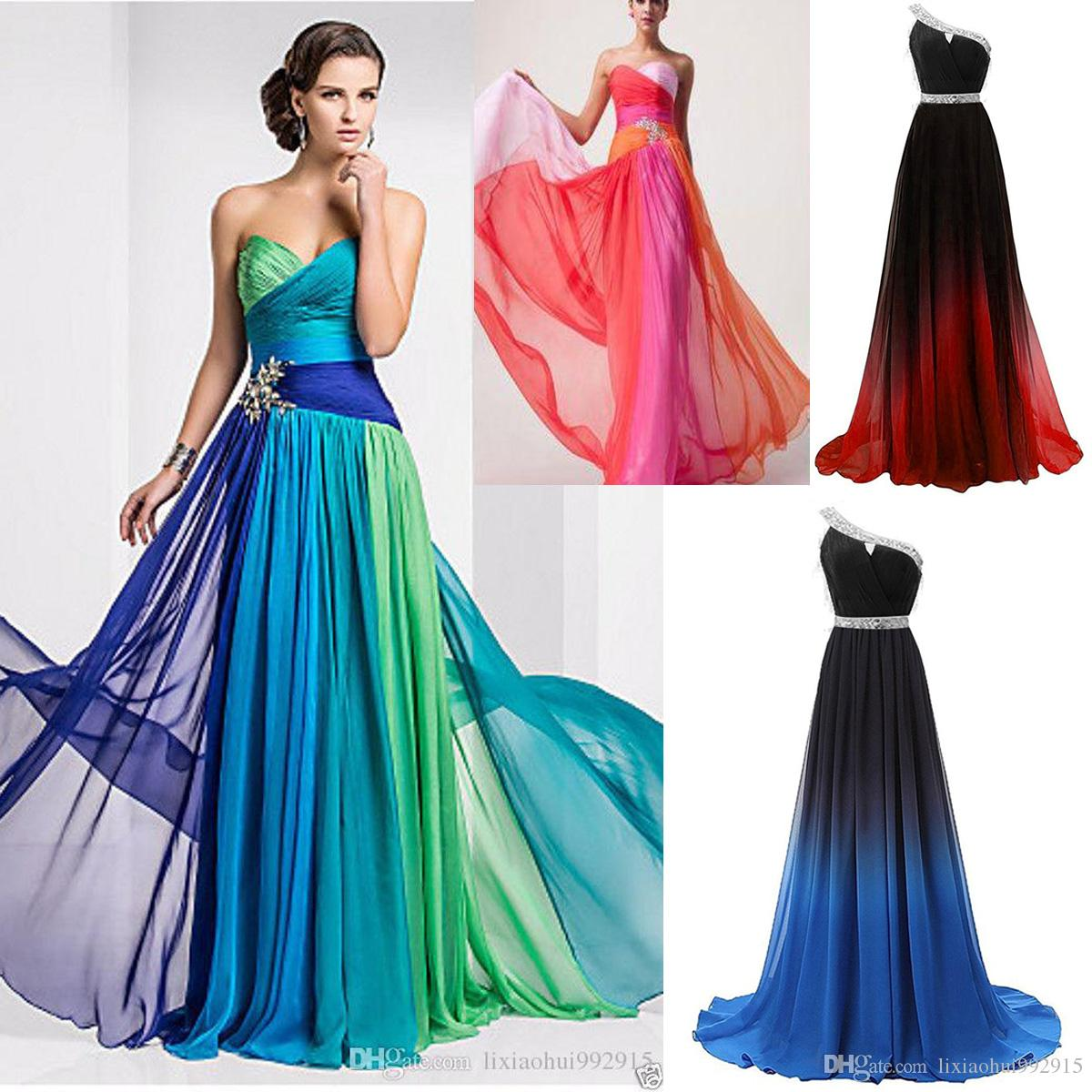 Cheap one shoulder prom dresses 2018
