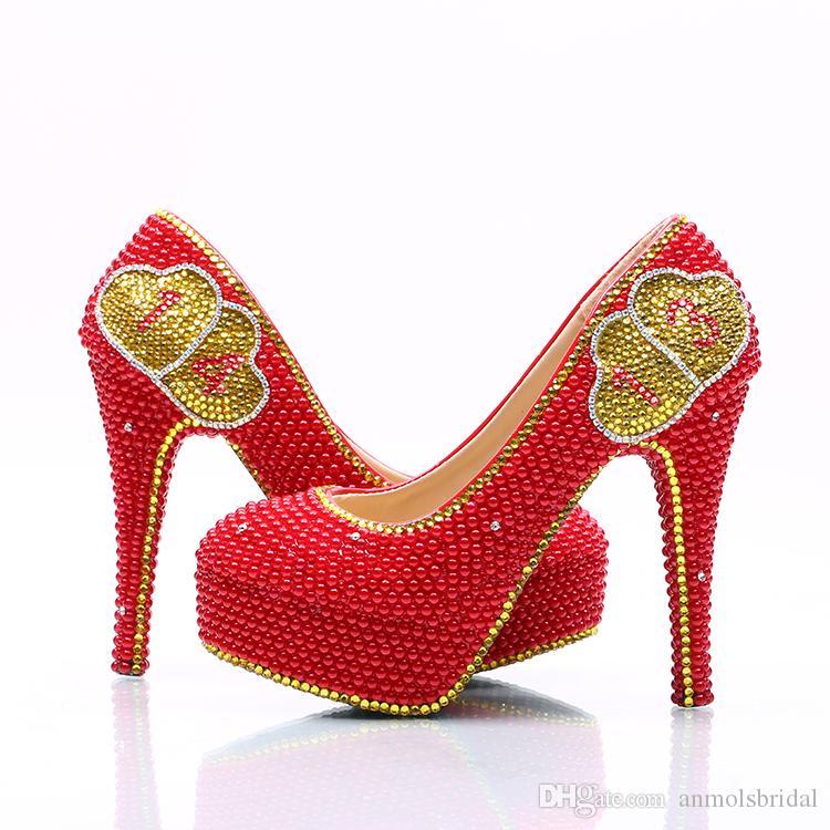 Or Coeur Fait 5 Doux D'honneur Main 14 Perlé Avec Prom 11 Cendrillon Rouge Entièrement De Cm Demoiselle Mariée 8 À Chaussures 0Xnkw8OP