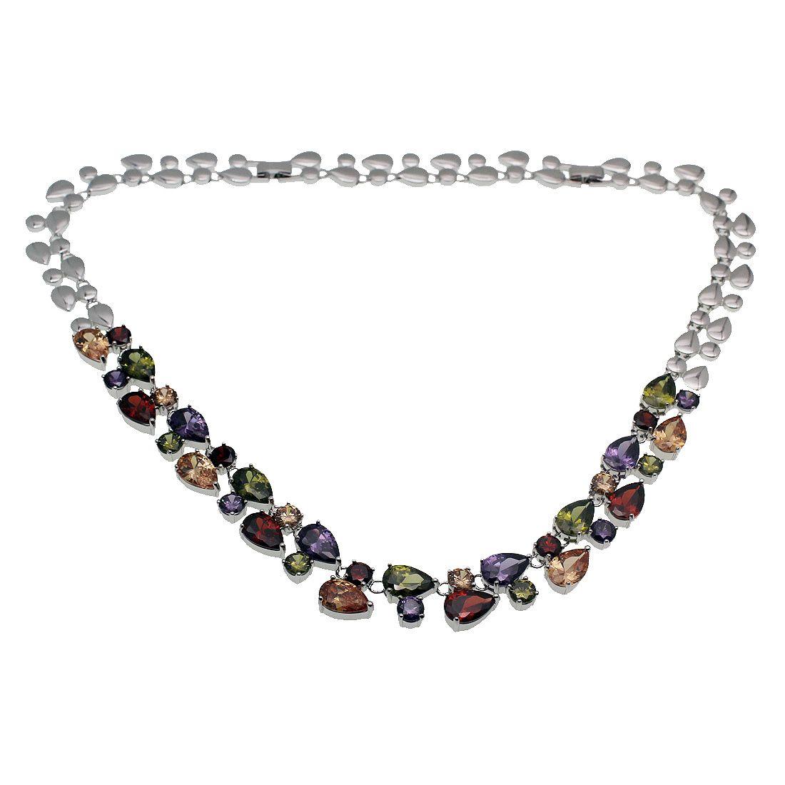 Hermosa Chain 16 INCH Necklace 925 Sterling Silver Gemstone Morganite Red Garnet Peridot Amethyst Women Jewelry