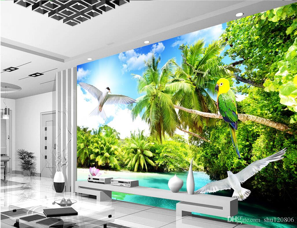 3d Room Wallpaper Custom Photo Mural Outdoor Beach Coconut Tree Scenery Background W Painting Picture Wall Murals For Walls 3 D Hd In