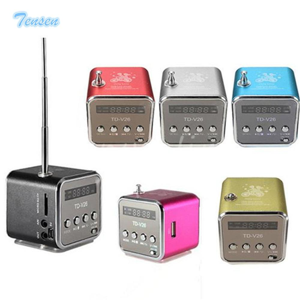 Wholesale- TD-V26 Mini Speaker Portable Digital LCD Sound Micro SD / TF FM Radio Music Stereo Loudspeaker for Laptop Mobile Phone MP3