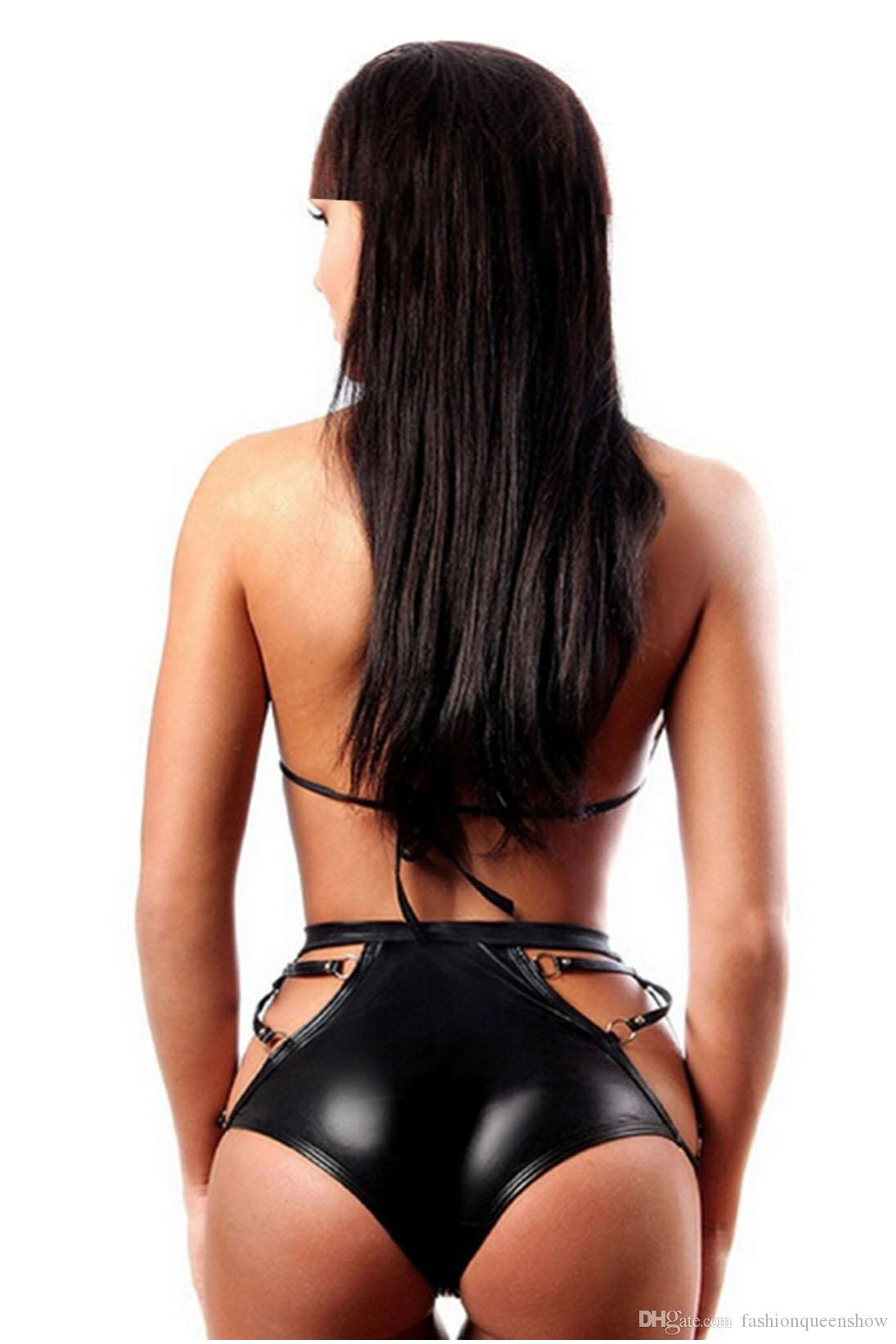 2 pezzi in ecopelle nero set di biancheria crop top e intimo set donna gotico fetish lingerie club wear set di costumi da bagno bondage