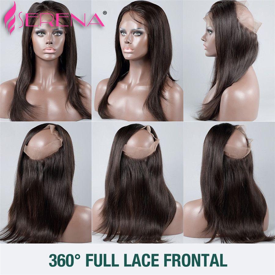 7A Brésilien Cheveux Raides 360 Frontal avec Bundles Cheveux Humains Raides avec Fermeture 360 Dentelle Frontal avec Bundles Pré Fermé 360 Fermeture