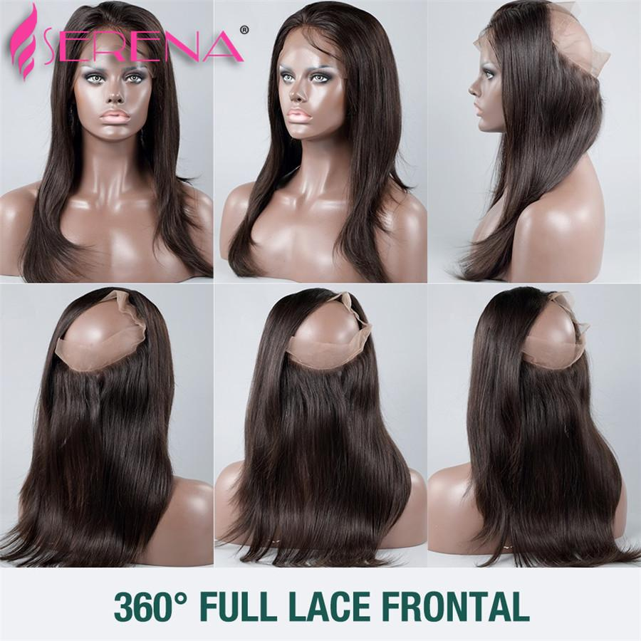 Brazilian Straight Hair With 360 Frontal 8A Brazilian Straight Virgin Hair 3 Bundles With 360 Lace Frontal Closure With Bundles