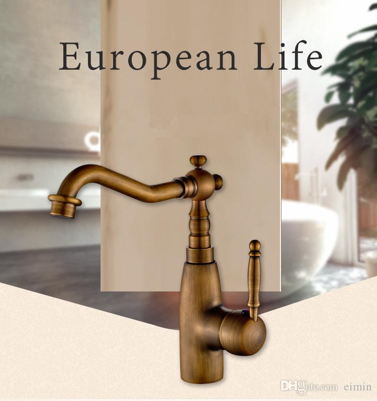 2017 Ücretsiz kargo Yeni Gelgit Avrupa Retro Tarzı ve Bronz Fırçalanmış Yüzey Banyo Havzası Musluk Pirinç Gövde Mikser Dokunun