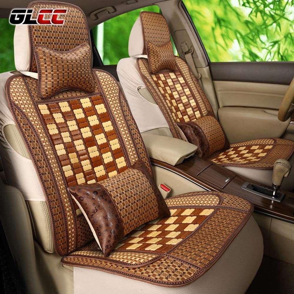 GLCC SUMMER NEW ARRIVAL Car Bamboo Seat Covers CoolRelieve Fatigue Universal 5 Auto Set Protector Infant Liner