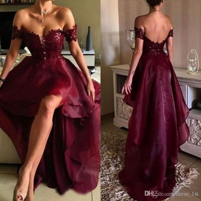 Sexy 2017 Burgundy Lace And Organza High Low Prom Dresses Cheap Off The Shoulder Backless Formal Party Gowns Custom Made China EN2131