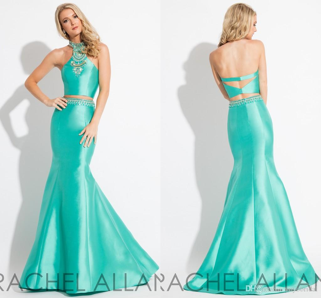 Sparkly Green Mermaid Prom Dresses 2017 Two Pieces High Neck Satin ...