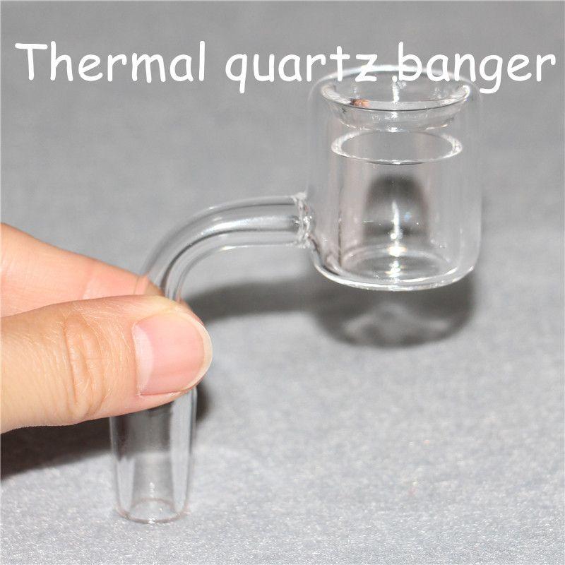 Double cloison thermique banger à quartz dans les deux 10mm 14mm 18mm mâle et femelle pour fumer des bongs de silicone / verre