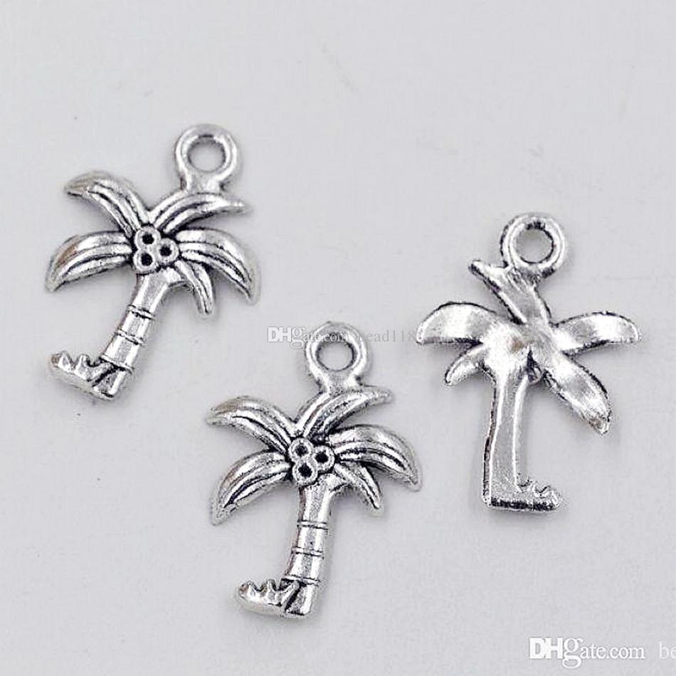 Coconut Palm Tree Charms Pendants / Antik Silver Fashion DIY Tillbehör Passa Armband Halsband Örhängen 15x22mm