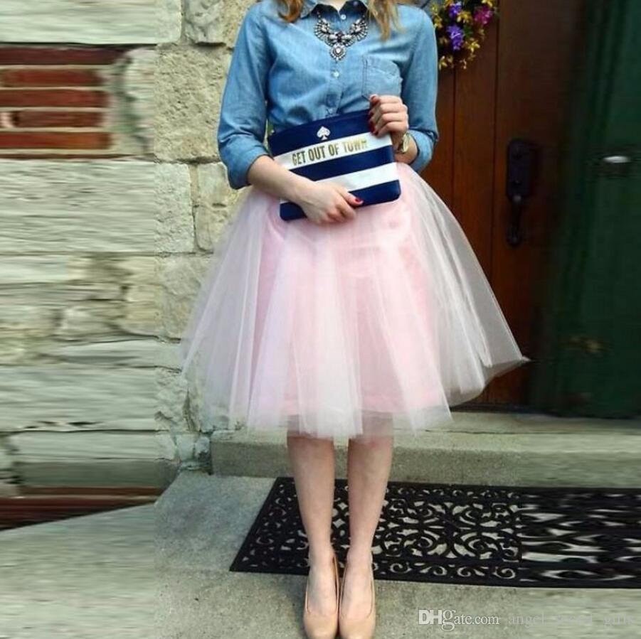ab7f24608779 2019 Cute Light Pink Tulle Skirt A Line Knee Length Skirts Womens Pretty  Adults Skirts New Arrival From Angel_secret_girls, $45.23 | DHgate.Com