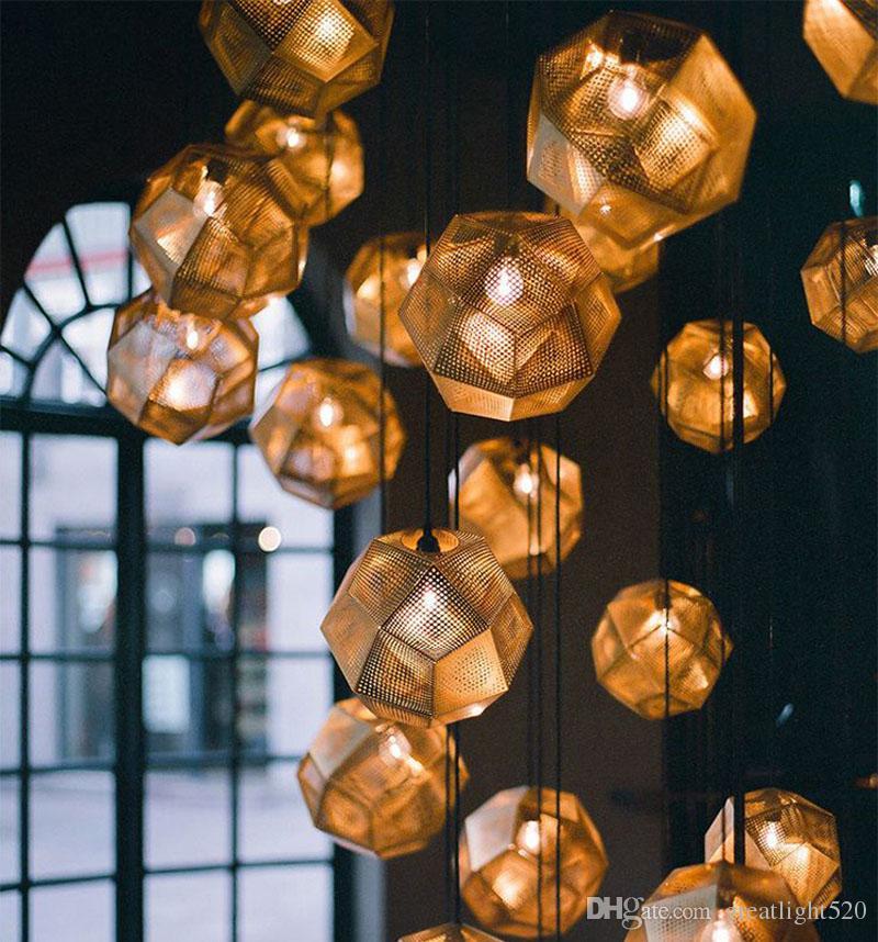 패션 예술 금속 볼 펜던트 조명 기하학 바 다면체 스테인레스 스틸 다면체의 성격 펜던트 조명 램프 예술 샹들리에
