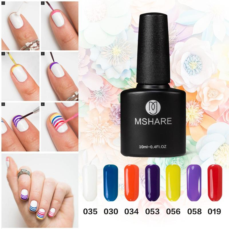 Wholesale- MSHARE Red yellow blue 10 ml of uv gel nail polish art with  flash powder lasting German nail material free shipping