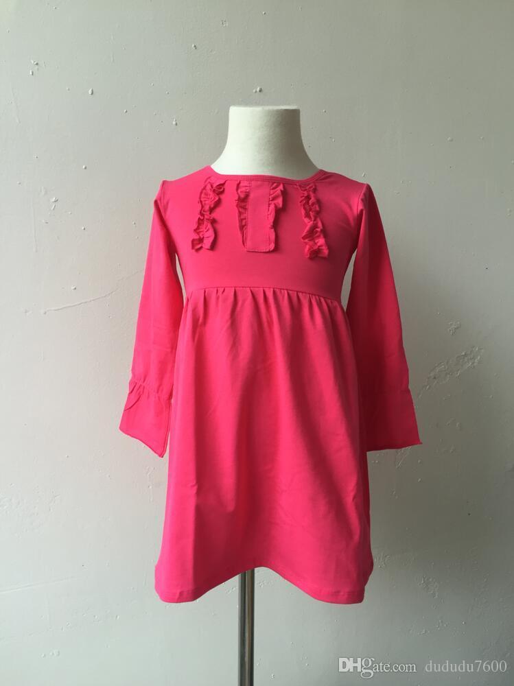 Çocuklar basit pamuklu gündelik tasarım elbise bebek kız butik pamuk göğüs fırfır üçlü uzun kollu elbise