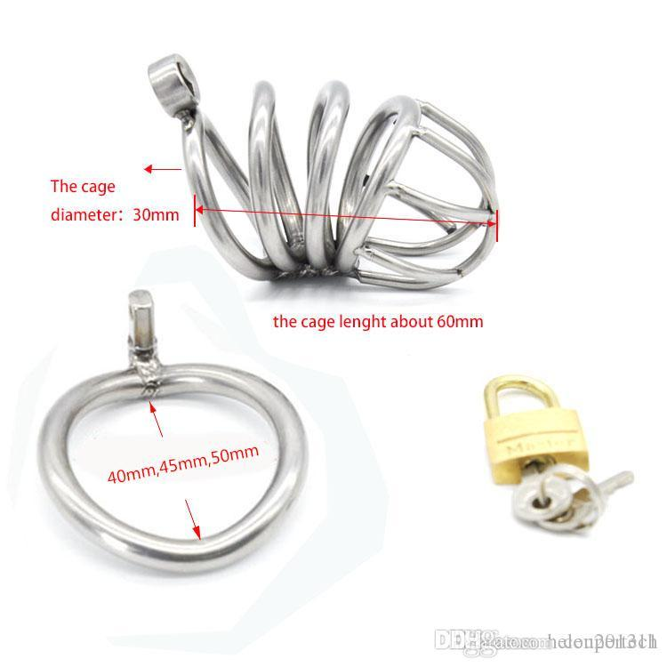 NEW Stainless Steel Super Small Male Chastity device Adult Cock Cage With Curve Cock Ring BDSM Sex Toys Bondage Chastity belt CPA224