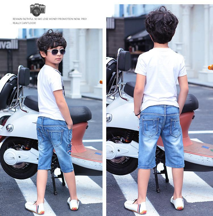 2017 summer new arrival fashion casual cotton blue denim shorts jeans for big boys kids clothes star pattern 100-160cm