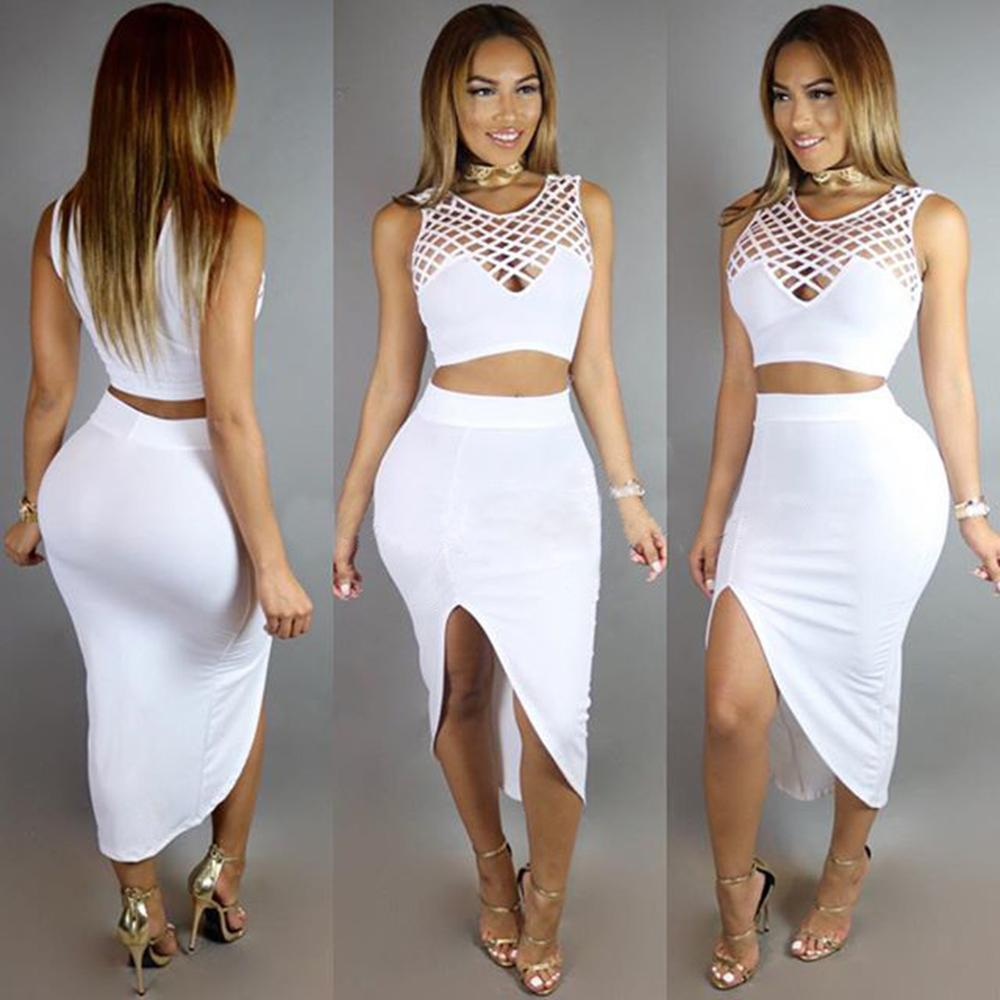 47843dfa23 Women Two Piece Outfits New Arrival Summer White Bandage Dress High Waist  Sexy Club Bodycon Party Dresses W126837 Cheap Summer Dresses Strapless  Dresses ...
