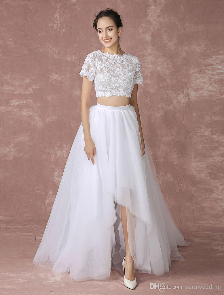 Discount Bateau Neck Lace Wedding Dress 2018 New High Low Wedding ...