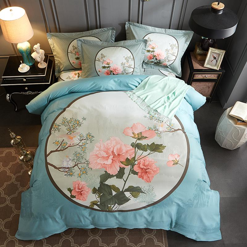100%cotton fabric bedding set bed cover bed sheet and pilliw case four pieces twill weaving fabric cartoon designs mutural color 1750012