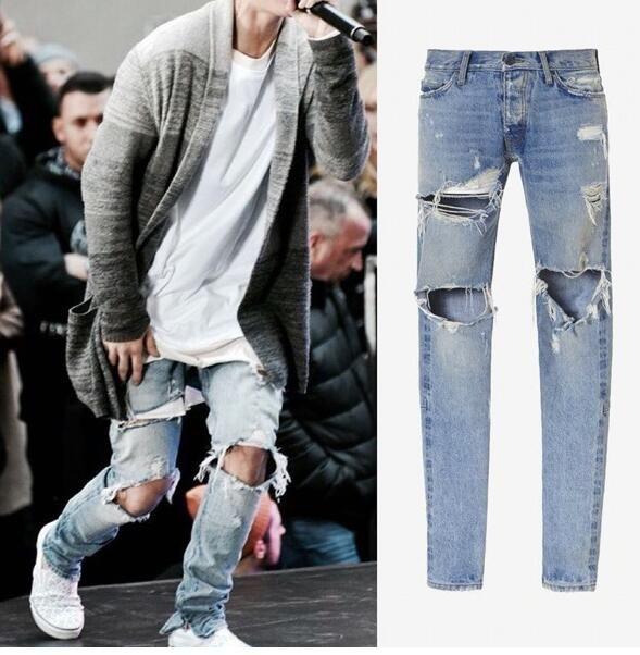 Newest Mens Hip Hop Ripped Jeans Biker Distressed Kanye West Denim Pants Mens Joggers Swag Side Zipper Skinny Jeans Homme