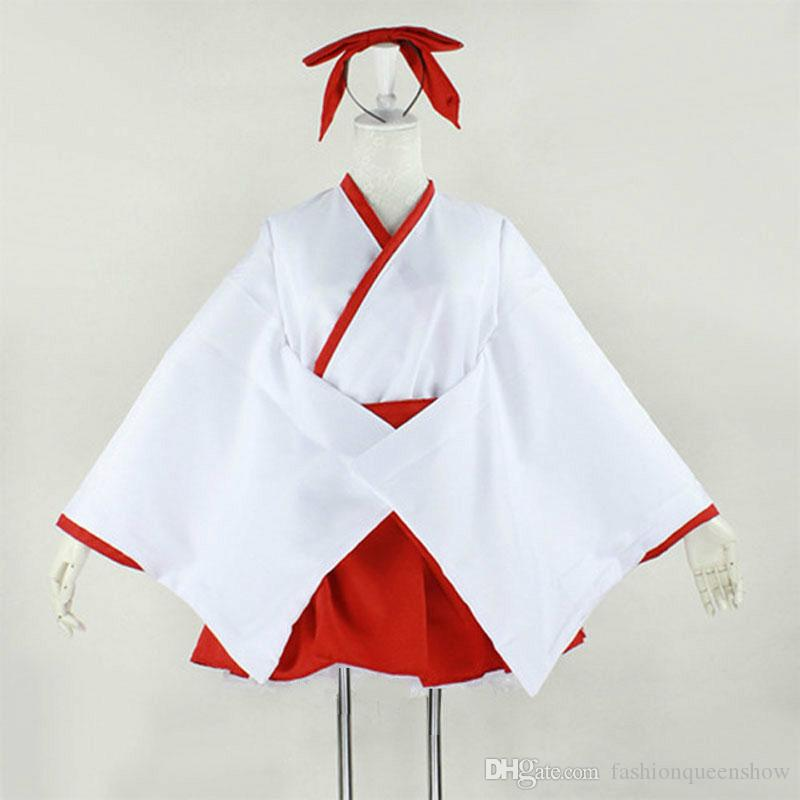 Women Japanese Anime Kimono Priestess Cosplay Costume Lolita White And Red Dress Halloween Costume With Headwear
