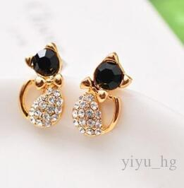 Lady Girl Cat Shaped Crystal Rhinestone Stud Earrings New