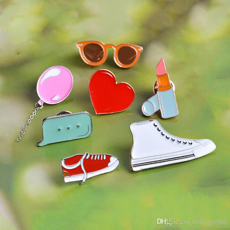 Oil Dripping Enamel Pin Cartoon Balloon Lipstick Glasses Canvas Shoes Dialog Box Brooches Delicate Craft Multi Pattern 1 6zb F R
