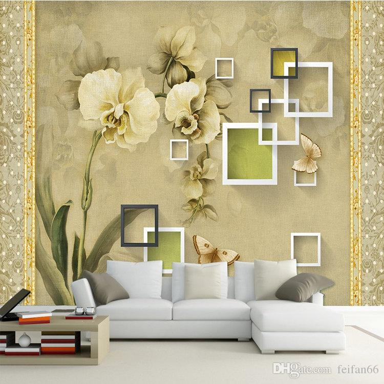 Custom Photo Wallpaper Mural 3D Oil Painting Orchid Retro Wall Papel ...