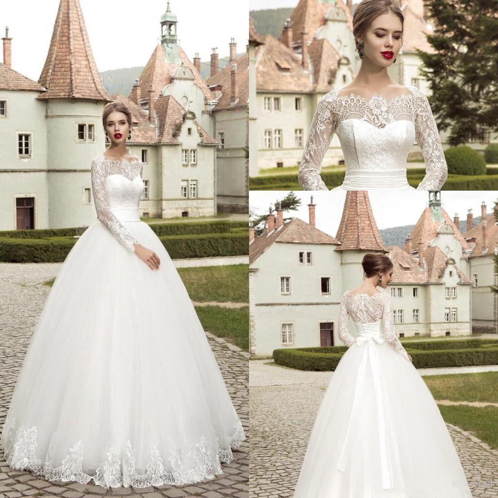 Discount Vestidos De Novia Elegant Long Sleeves Lace White Tulle ...