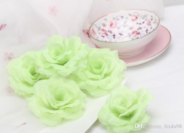 8CM diametro fiore artificiale testa, alta simulazione di seta rosa fiore, i assortiti testa di fiore, 100 pz / lotto