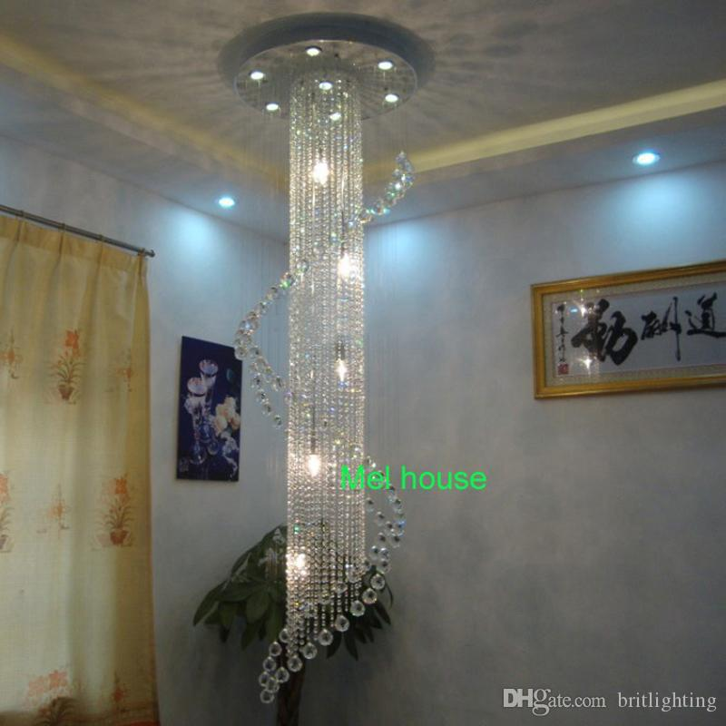 Dining Room Long Crystal Stair Lamp Flush Mounted Stair Light ...