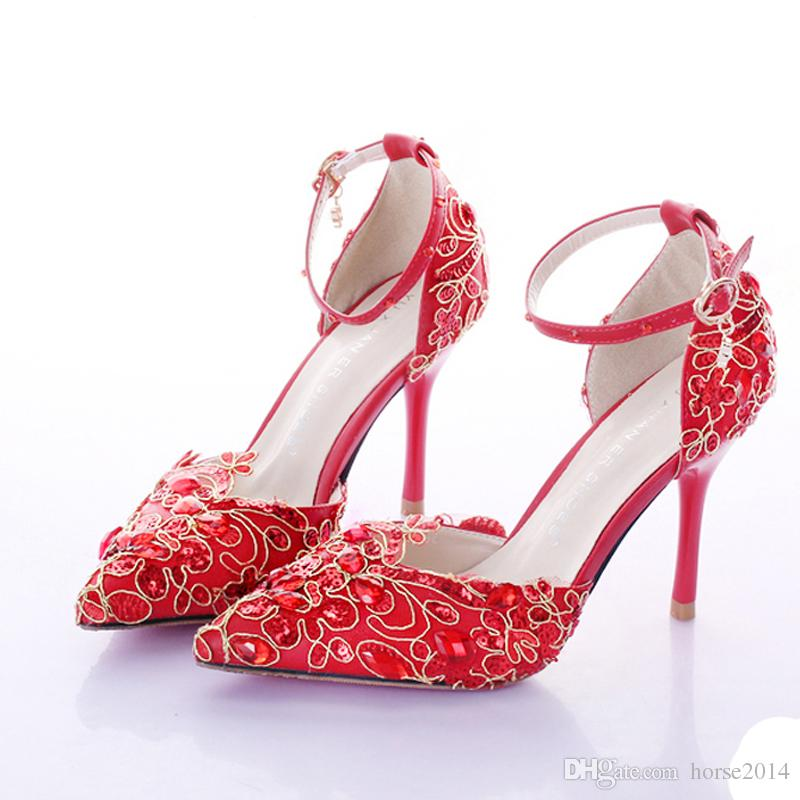 Ankle Straps High Heel Beautiful Red Bride Shoes Lace Platform Sexy Formal Dress Shoes with Glitter Sequins Party Prom Pumps Pointed Toe