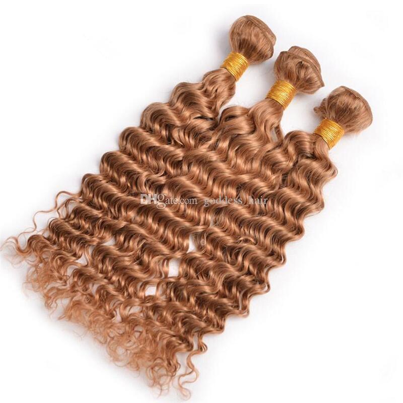 라이트 블론드 딥 웨이브 헤어 위드 3 묶음 레이스 포함 Forntal 퓨어 컬러 27 Deep Curly Hair With Ear Front Earal