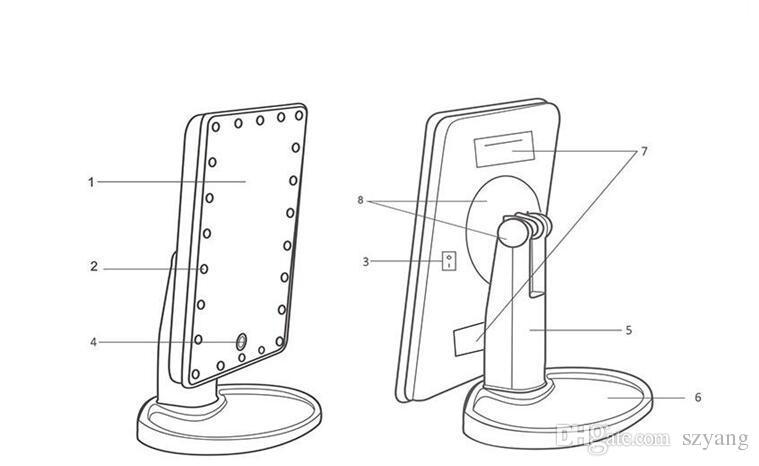 10шт LED сенсорный экран макияж зеркало профессиональный Косметическое зеркало с 16 светодиодные фонари регулируемая столешница
