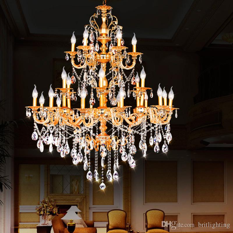 Big Chandelier Hotel Project Villa Chandelier Lamp Lights Luxury - Chandelier swarovski crystals wholesale