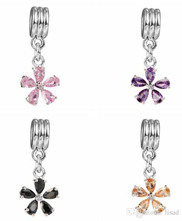 Metall Pendelleuchten, junge Frauen Anhänger Schmuck, schwarz Silber Halskette Blume Sakura Anhänger Charms Armbänder Perlen