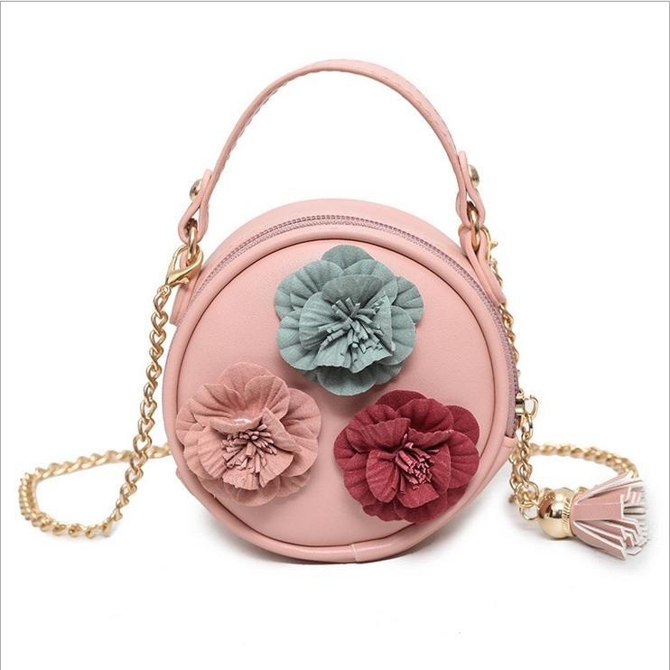 Girls Bag 2017 Cute Tassels Flower Chain Bag Fashion Handmade Kids Leather Purses  Girls Handbag Crossbody DR 251 Purses For Little Girl Vintage Purse From ... 936cacd38323f