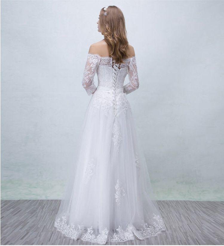 Simple Lace Wedding Dress On Christmas 3/4 Sleeve Floor-Length Plain Aline Bridal Gowns Big Sale