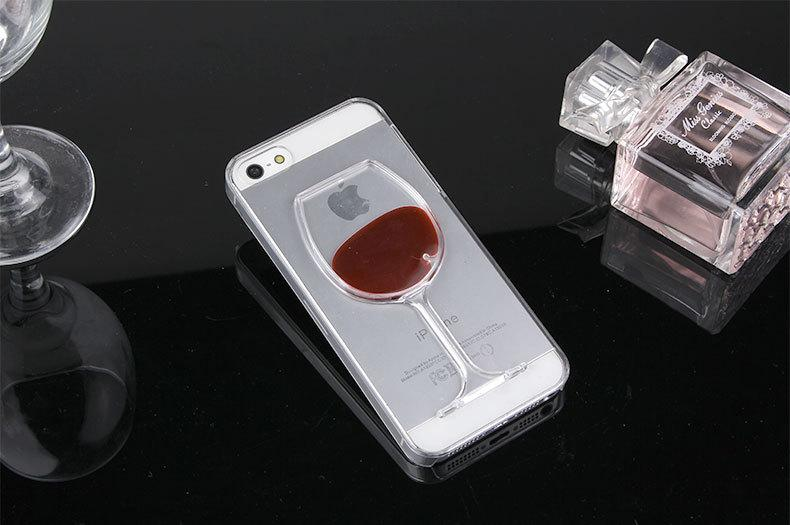 3D Red Wine Cup Phone cases soft TPU cocktail Liquid Transparent protective cell phone cover for iphone X 8 7 samsung
